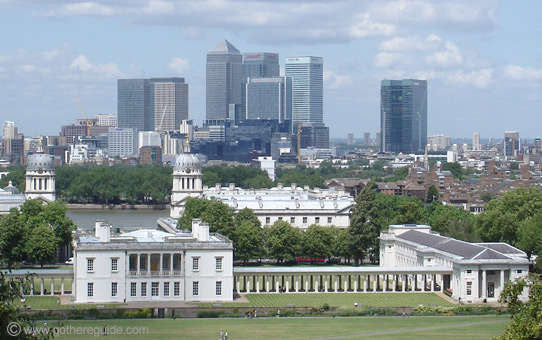 Canary Wharf and the Queens House Greenwich